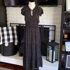 Old Navy black with white polka dot maxi dress